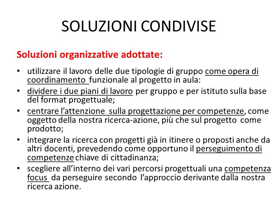 SOLUZIONI CONDIVISE Soluzioni organizzative adottate: utilizzare il lavoro delle due tipologie di gruppo come opera di coordinamento funzionale al pro