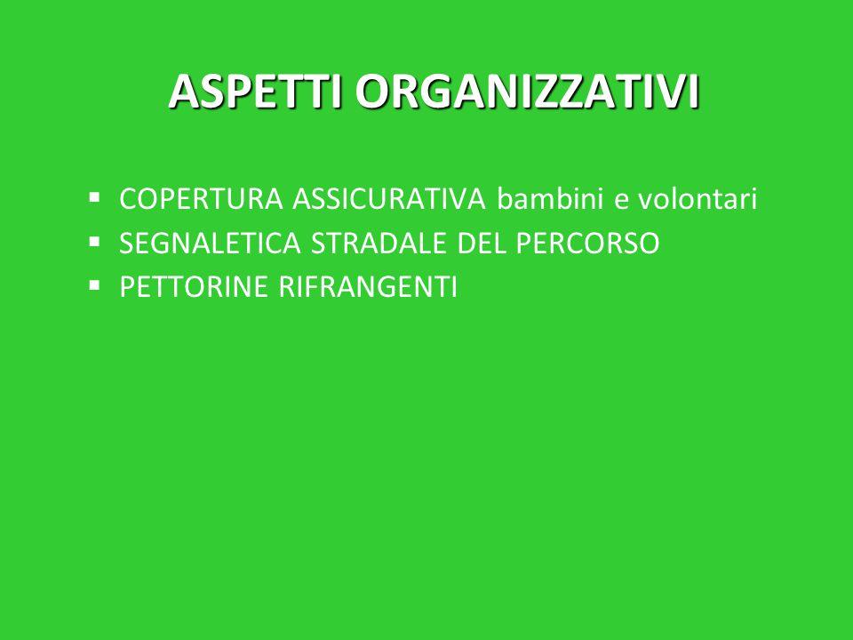 ASPETTI ORGANIZZATIVI   COPERTURA ASSICURATIVA bambini e volontari   SEGNALETICA STRADALE DEL PERCORSO   PETTORINE RIFRANGENTI