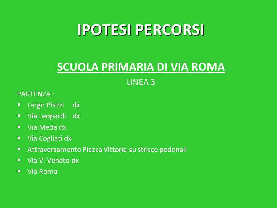 IPOTESI PERCORSI SCUOLA PRIMARIA DI VIA ROMA LINEA 3 PARTENZA :   Largo Piazzidx   Via Leopardidx   Via Meda dx   Via Cogliati dx   Attraversamento Piazza Vittoria su strisce pedonali   Via V.