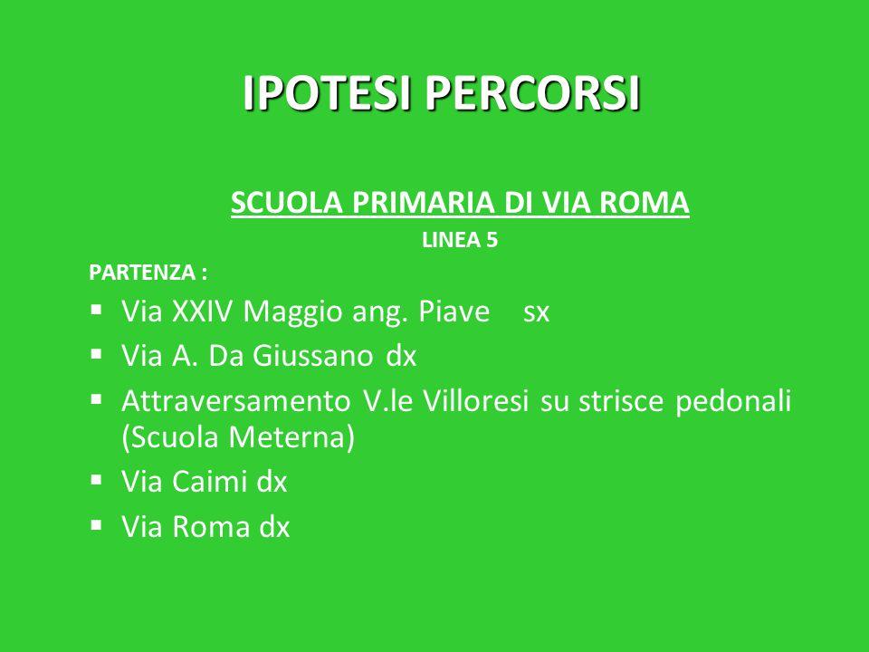 IPOTESI PERCORSI SCUOLA PRIMARIA DI VIA ROMA LINEA 5 PARTENZA :   Via XXIV Maggio ang.