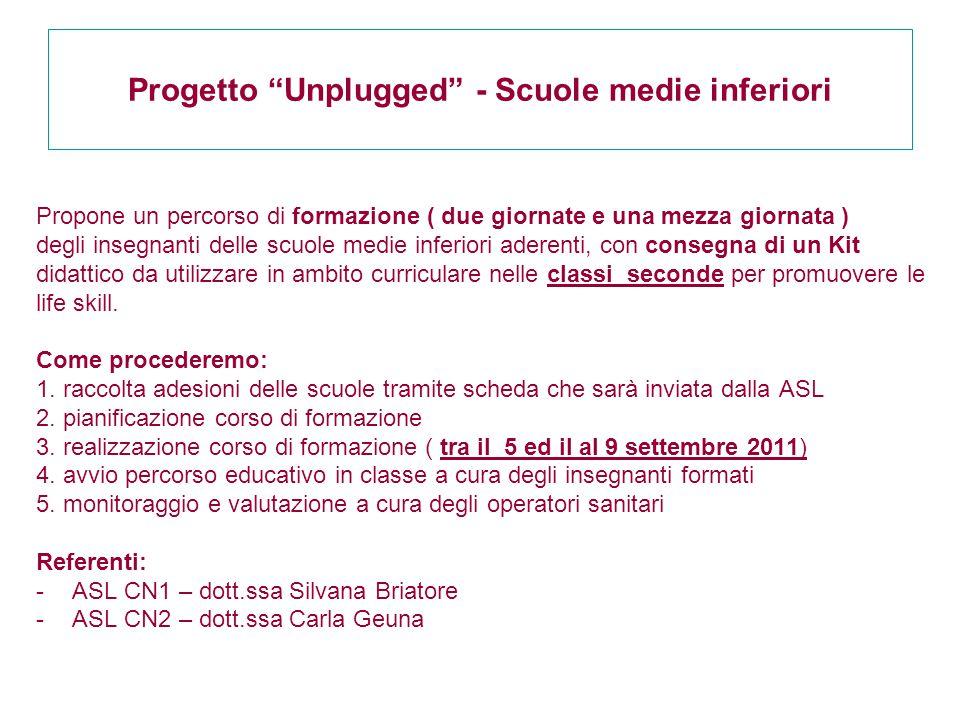 """Progetto """"Unplugged"""" - Scuole medie inferiori Propone un percorso di formazione ( due giornate e una mezza giornata ) degli insegnanti delle scuole me"""
