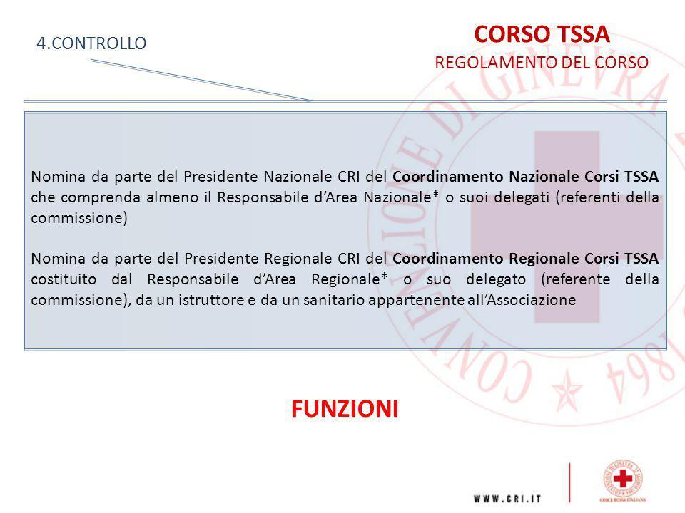 CORSO TSSA REGOLAMENTO DEL CORSO 4.CONTROLLO Nomina da parte del Presidente Nazionale CRI del Coordinamento Nazionale Corsi TSSA che comprenda almeno
