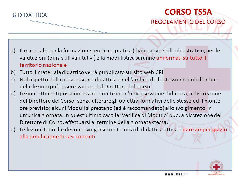 CORSO TSSA REGOLAMENTO DEL CORSO 6.DIDATTICA a)Il materiale per la formazione teorica e pratica (diapositive-skill addestrativi), per le valutazioni (