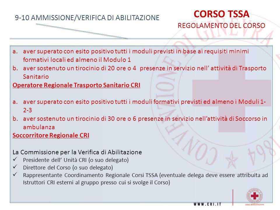 CORSO TSSA REGOLAMENTO DEL CORSO 9-10 AMMISSIONE/VERIFICA DI ABILITAZIONE a.aver superato con esito positivo tutti i moduli previsti in base ai requis