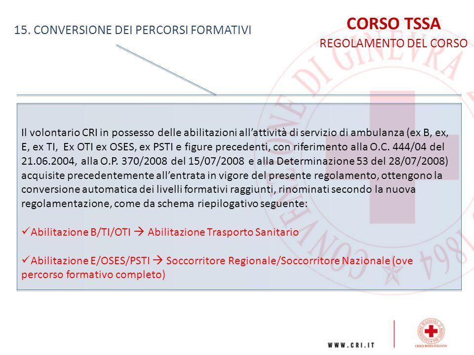 CORSO TSSA REGOLAMENTO DEL CORSO 15. CONVERSIONE DEI PERCORSI FORMATIVI Il volontario CRI in possesso delle abilitazioni all'attività di servizio di a
