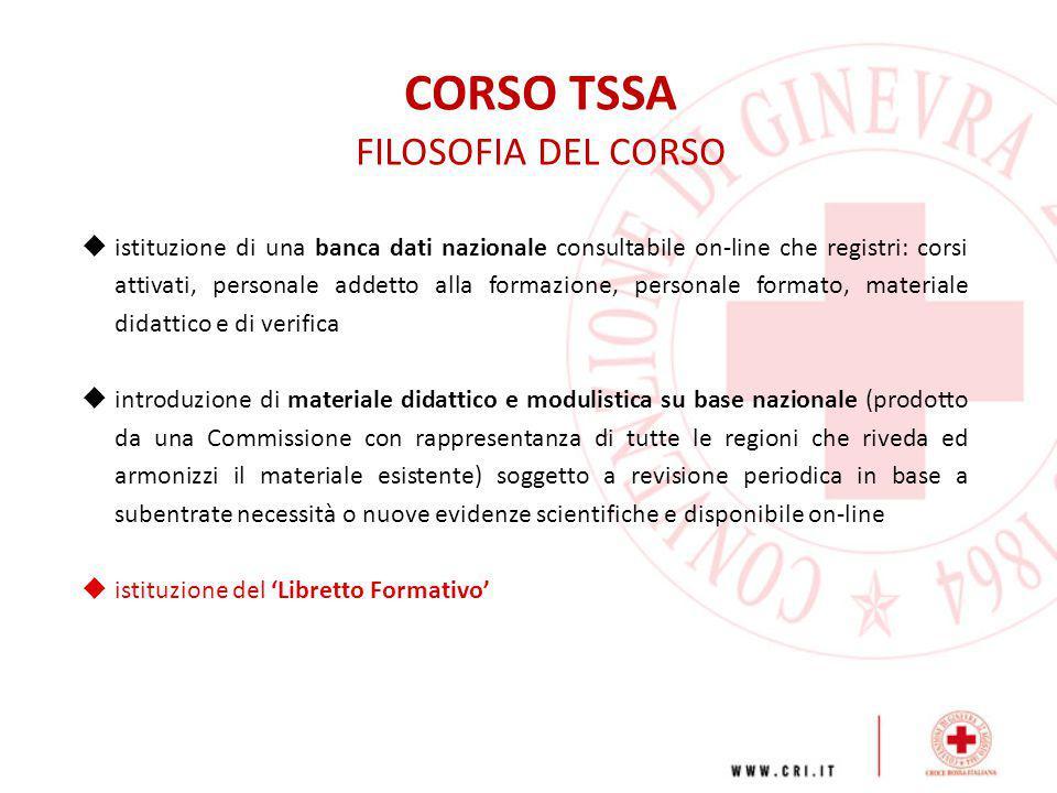 CORSO TSSA FILOSOFIA DEL CORSO  istituzione di una banca dati nazionale consultabile on-line che registri: corsi attivati, personale addetto alla for