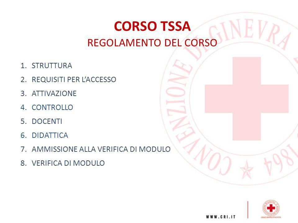 CORSO TSSA REGOLAMENTO DEL CORSO 1.STRUTTURA 2.REQUISITI PER L'ACCESSO 3.ATTIVAZIONE 4.CONTROLLO 5.DOCENTI 6.DIDATTICA 7.AMMISSIONE ALLA VERIFICA DI M