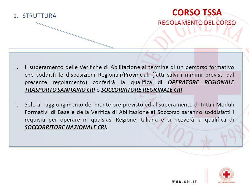 CORSO TSSA REGOLAMENTO DEL CORSO 1.STRUTTURA i.Il superamento delle Verifiche di Abilitazione al termine di un percorso formativo che soddisfi le disp