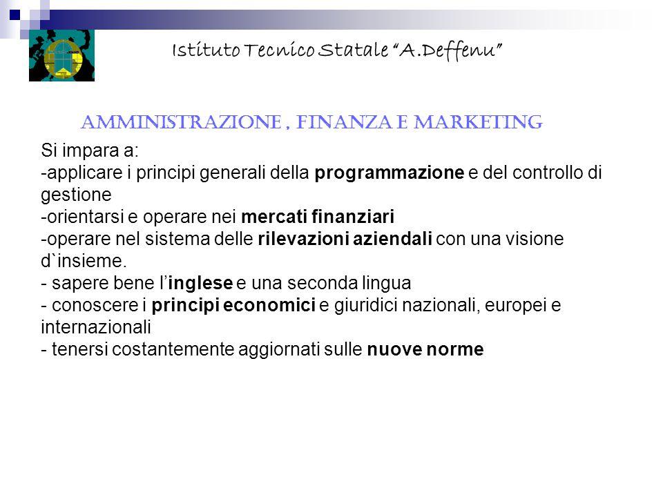 """AMMINISTRAZIONE, FINANZA E MARKETING Istituto Tecnico Statale """"A.Deffenu"""" Si impara a: -applicare i principi generali della programmazione e del contr"""
