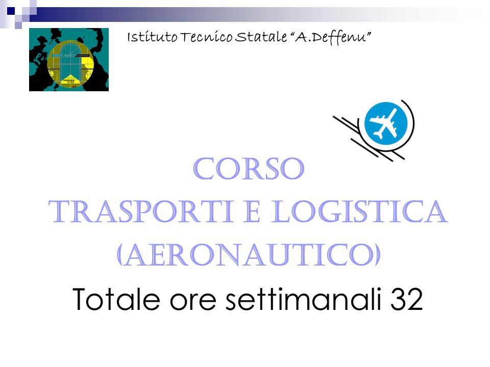 """CORSO Trasporti e Logistica (Aeronautico) Totale ore settimanali 32 Istituto Tecnico Statale """"A.Deffenu"""""""