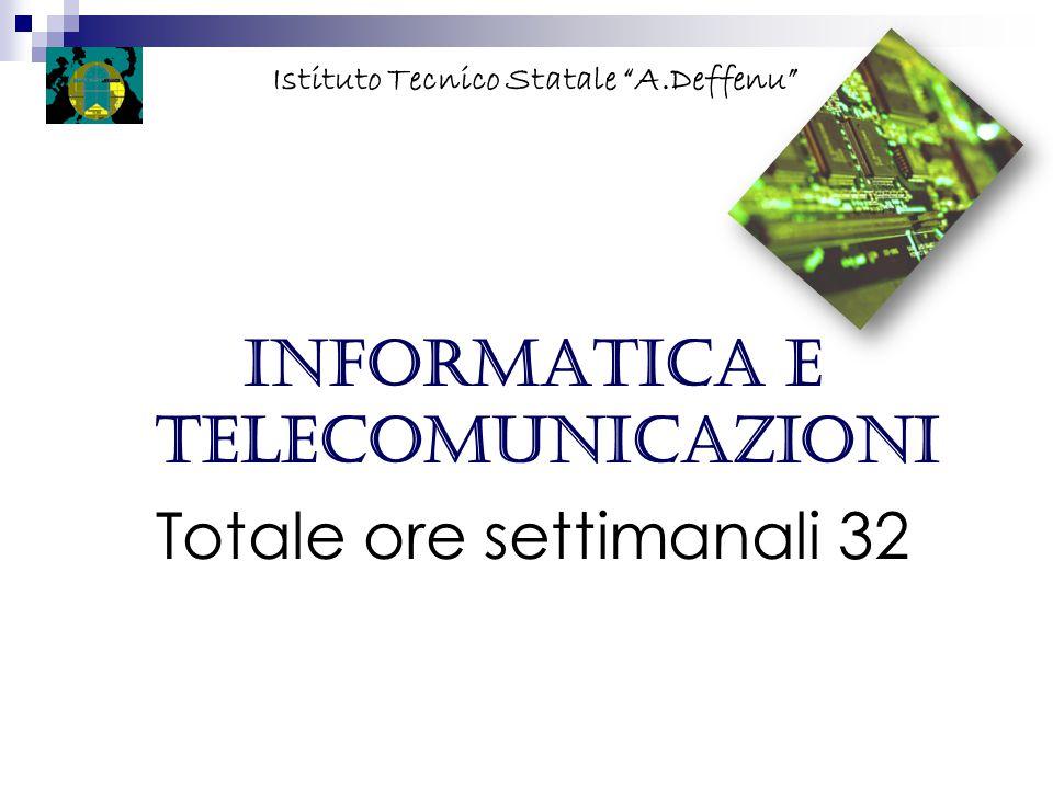 """Informatica e telecomunicazioni Totale ore settimanali 32 Istituto Tecnico Statale """"A.Deffenu"""""""
