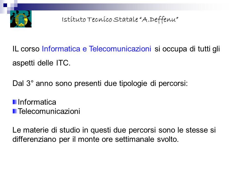 IL corso Informatica e Telecomunicazioni si occupa di tutti gli aspetti delle ITC. Dal 3° anno sono presenti due tipologie di percorsi: Informatica Te
