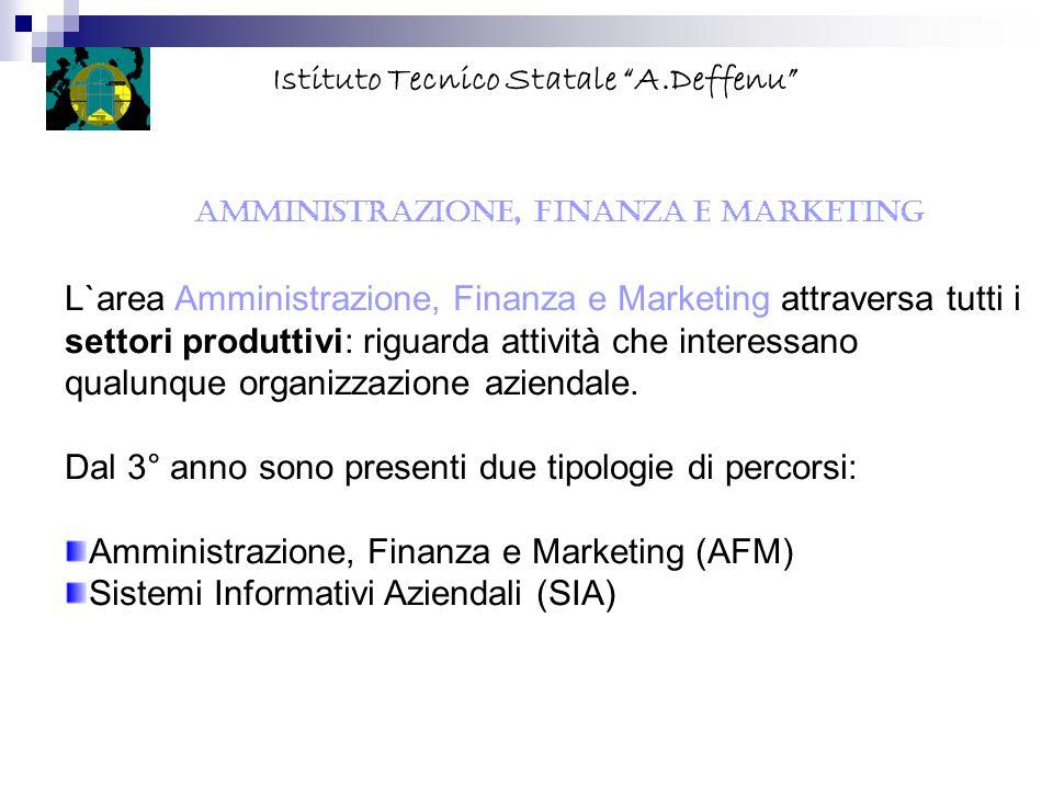 """AMMINISTRAZIONE, FINANZA E MARKETING Istituto Tecnico Statale """"A.Deffenu"""" L`area Amministrazione, Finanza e Marketing attraversa tutti i settori produ"""