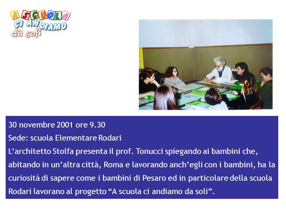 30 novembre 2001 ore 9.30 Sede: scuola Elementare Rodari L'architetto Stolfa presenta il prof. Tonucci spiegando ai bambini che, abitando in un'altra