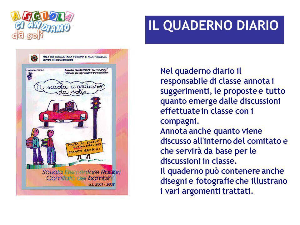 IL QUADERNO DIARIO Nel quaderno diario il responsabile di classe annota i suggerimenti, le proposte e tutto quanto emerge dalle discussioni effettuate