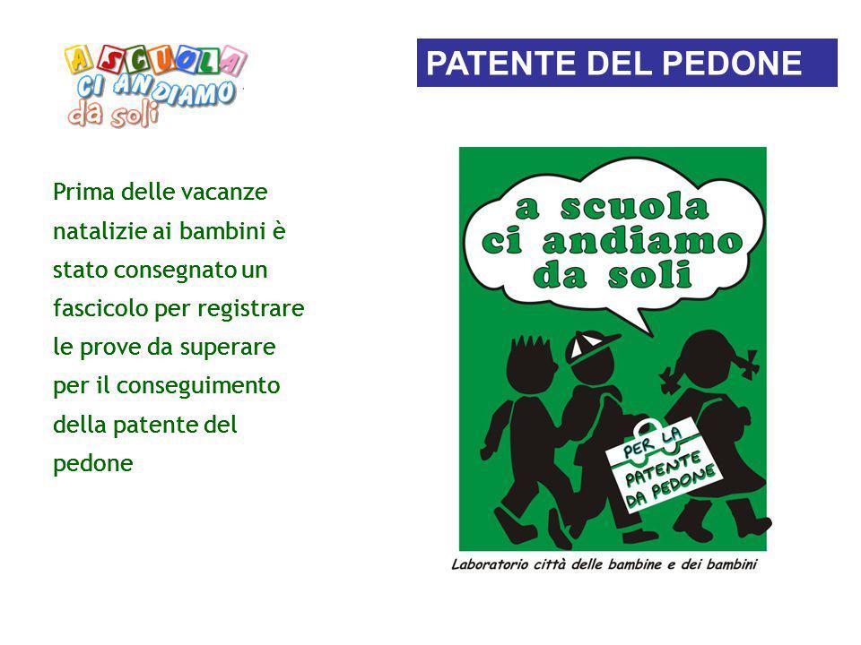 Prima delle vacanze natalizie ai bambini è stato consegnato un fascicolo per registrare le prove da superare per il conseguimento della patente del pe