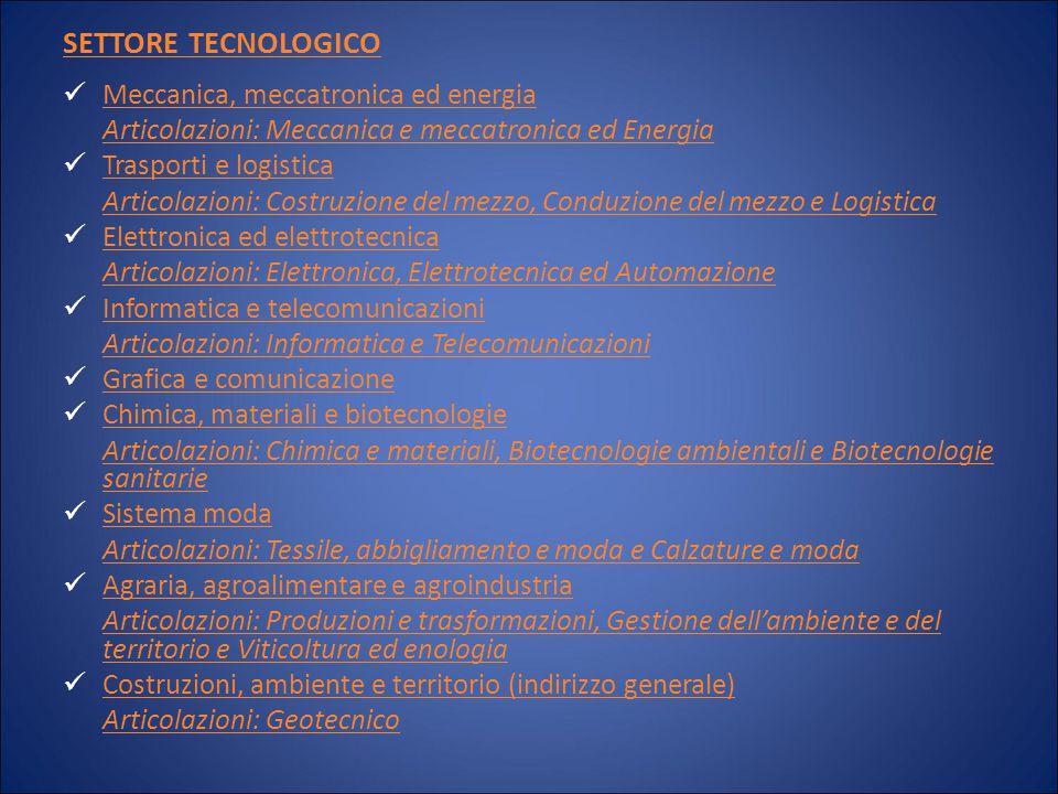 SETTORE TECNOLOGICO Meccanica, meccatronica ed energia Articolazioni: Meccanica e meccatronica ed Energia Trasporti e logistica Articolazioni: Costruz
