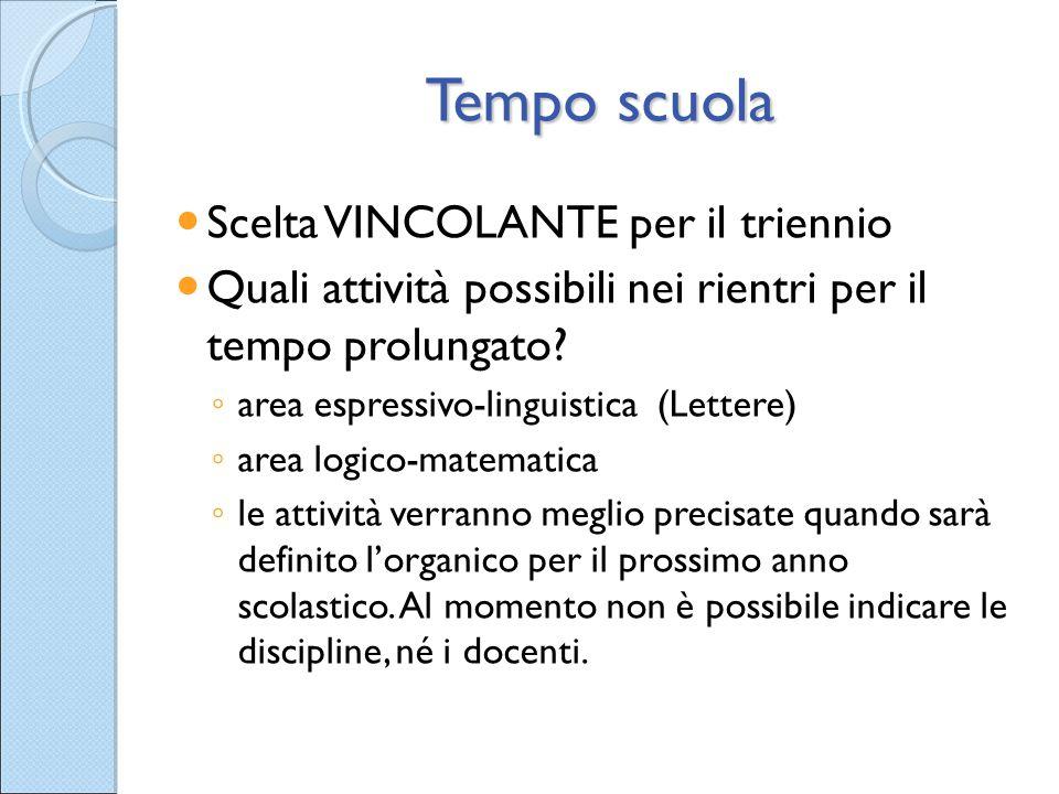 Tempo scuola Scelta VINCOLANTE per il triennio Quali attività possibili nei rientri per il tempo prolungato? ◦ area espressivo-linguistica (Lettere) ◦