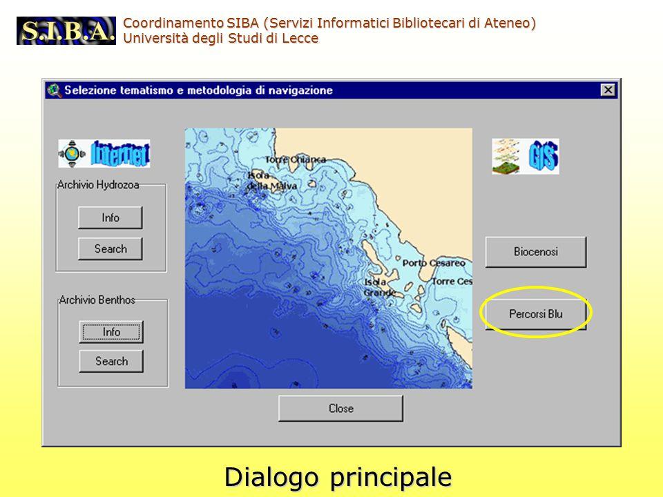 Coordinamento SIBA (Servizi Informatici Bibliotecari di Ateneo) Università degli Studi di Lecce Dialogo principale