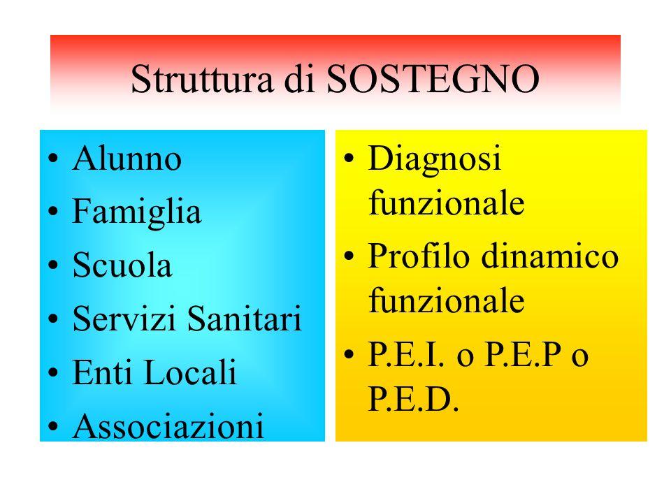 Struttura di SOSTEGNO Alunno Famiglia Scuola Servizi Sanitari Enti Locali Associazioni Diagnosi funzionale Profilo dinamico funzionale P.E.I.