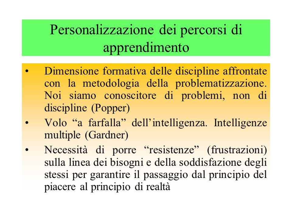 Personalizzazione dei percorsi di apprendimento Dimensione formativa delle discipline affrontate con la metodologia della problematizzazione.