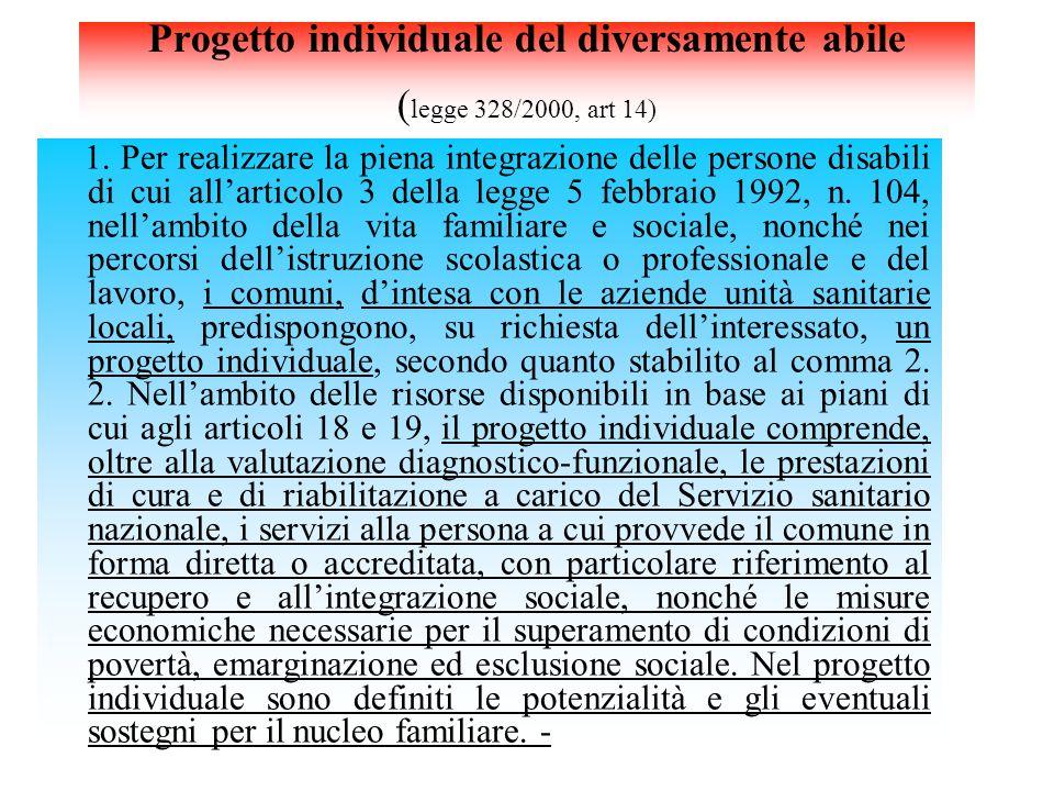 Progetto individuale del diversamente abile ( legge 328/2000, art 14) 1. Per realizzare la piena integrazione delle persone disabili di cui all'artico