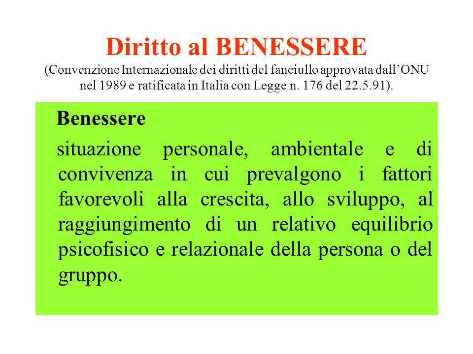 Diritto al BENESSERE (Convenzione Internazionale dei diritti del fanciullo approvata dall'ONU nel 1989 e ratificata in Italia con Legge n. 176 del 22.