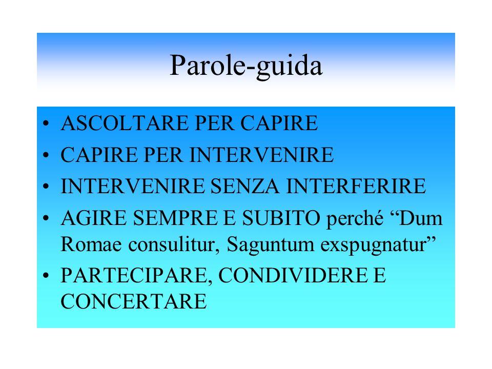 """Parole-guida ASCOLTARE PER CAPIRE CAPIRE PER INTERVENIRE INTERVENIRE SENZA INTERFERIRE AGIRE SEMPRE E SUBITO perché """"Dum Romae consulitur, Saguntum ex"""