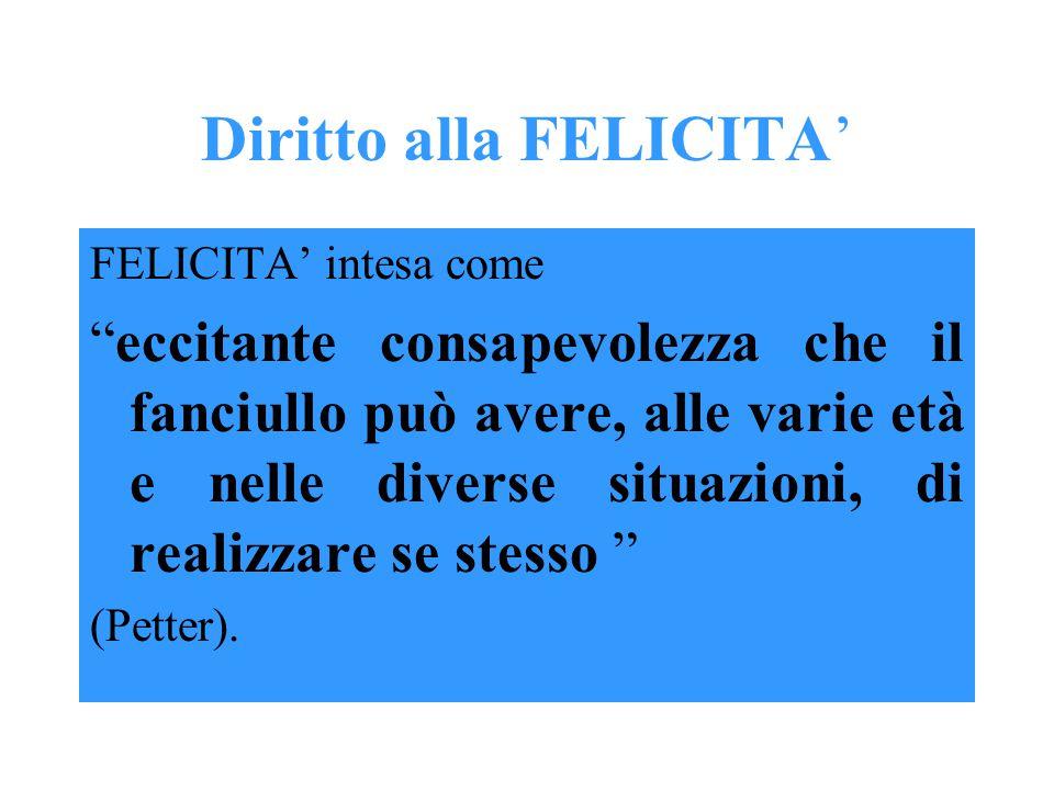 Diritto alla FELICITA' FELICITA' intesa come eccitante consapevolezza che il fanciullo può avere, alle varie età e nelle diverse situazioni, di realizzare se stesso (Petter).