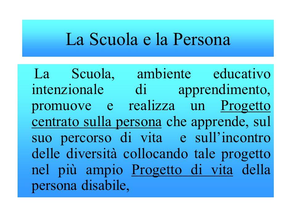 La Scuola e la Persona La Scuola, ambiente educativo intenzionale di apprendimento, promuove e realizza un Progetto centrato sulla persona che apprend