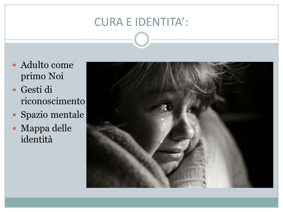 CURA E IDENTITA': Adulto come primo Noi Gesti di riconoscimento Spazio mentale Mappa delle identità