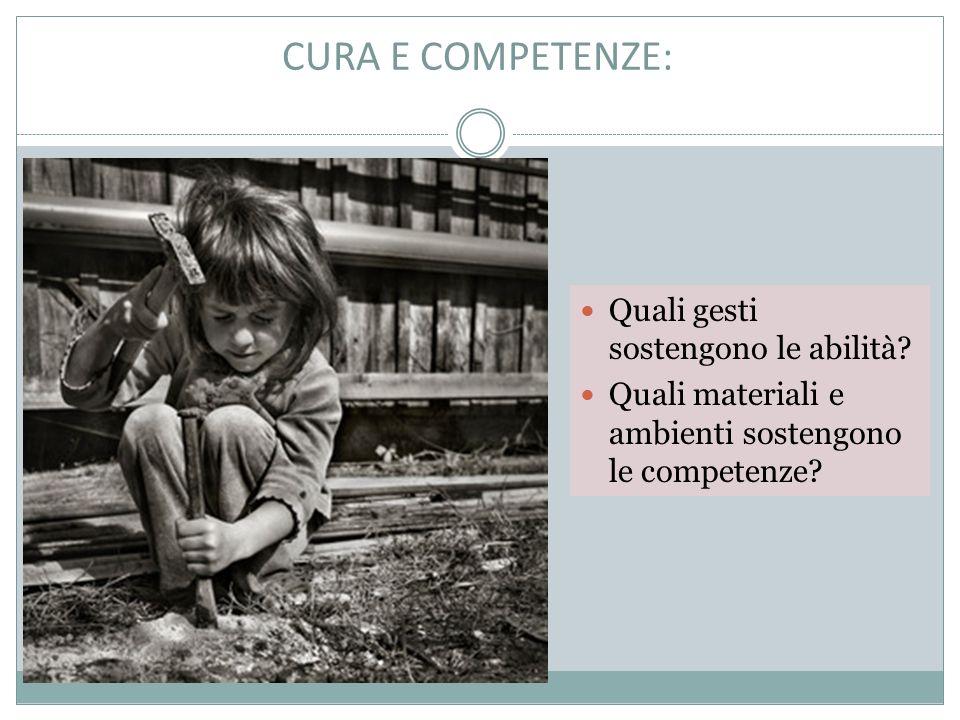 CURA E COMPETENZE: Quali gesti sostengono le abilità.
