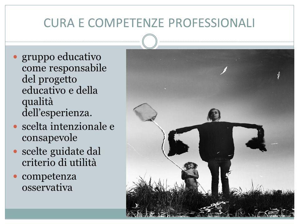 CURA E COMPETENZE PROFESSIONALI gruppo educativo come responsabile del progetto educativo e della qualità dell'esperienza.