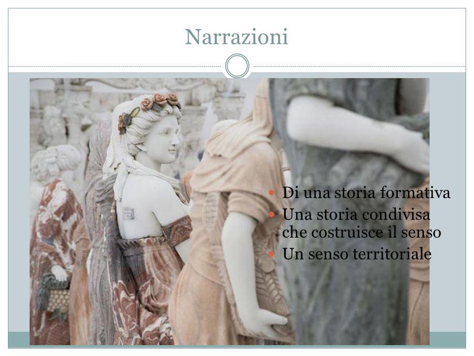 Narrazioni Di una storia formativa Una storia condivisa che costruisce il senso Un senso territoriale