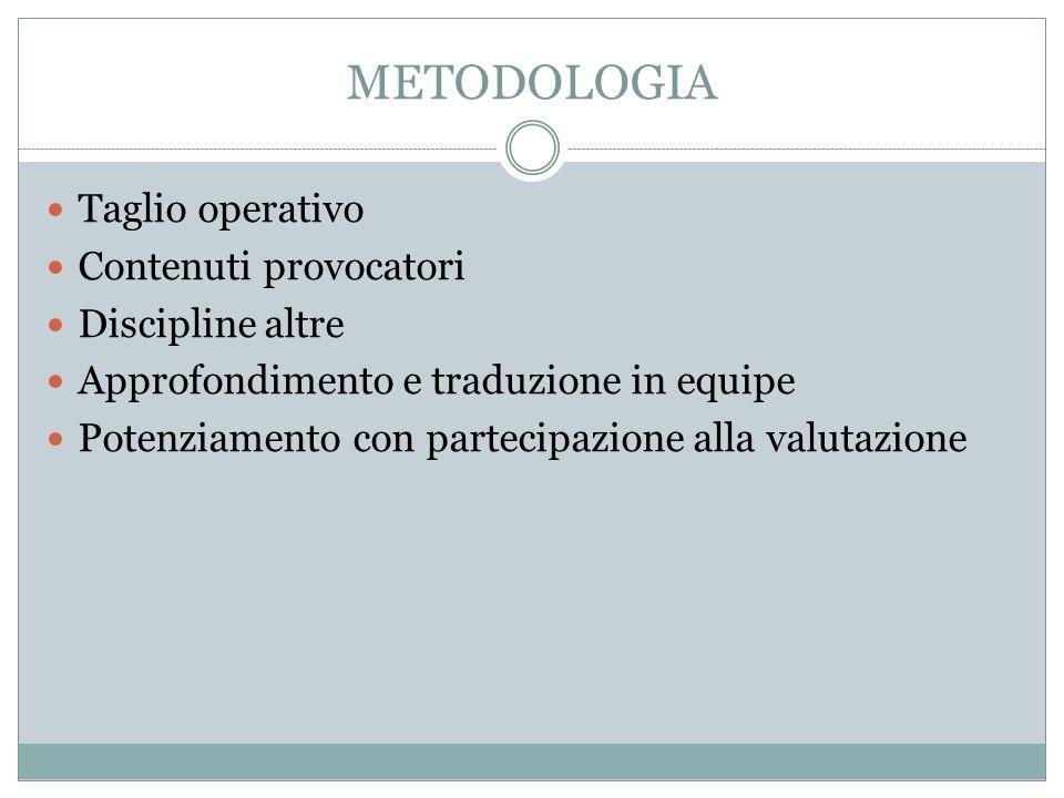 METODOLOGIA Taglio operativo Contenuti provocatori Discipline altre Approfondimento e traduzione in equipe Potenziamento con partecipazione alla valutazione