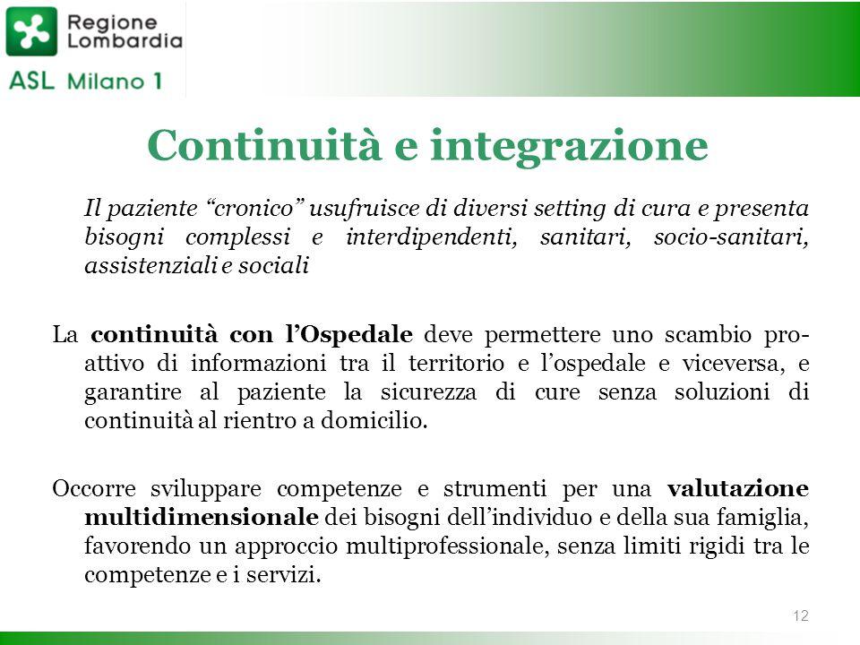 """Continuità e integrazione Il paziente """"cronico"""" usufruisce di diversi setting di cura e presenta bisogni complessi e interdipendenti, sanitari, socio-"""