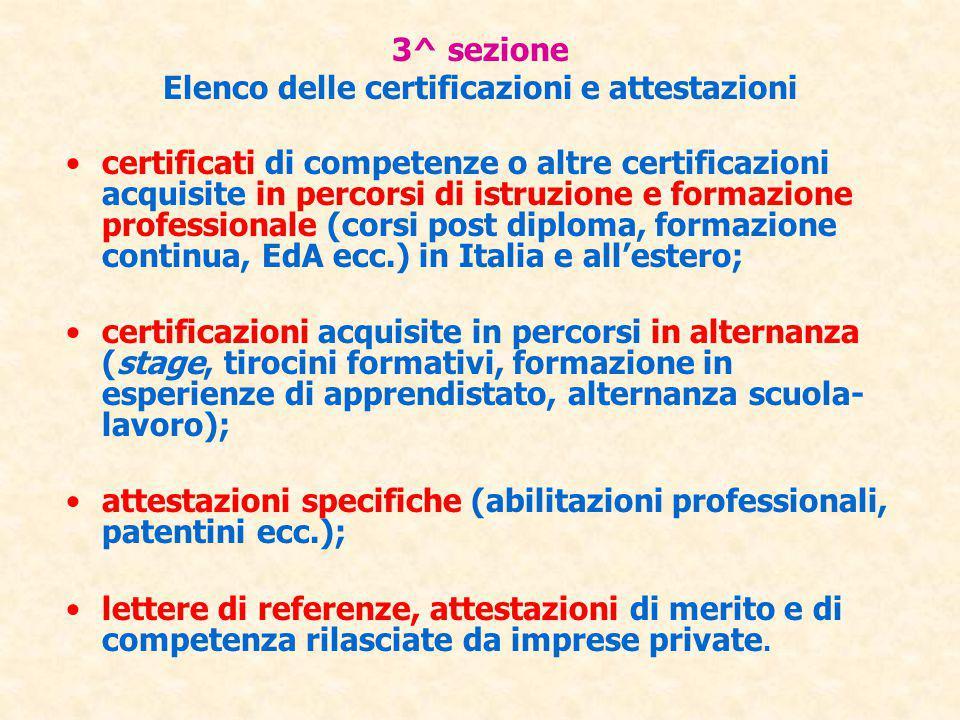 3^ sezione Elenco delle certificazioni e attestazioni certificati di competenze o altre certificazioni acquisite in percorsi di istruzione e formazion
