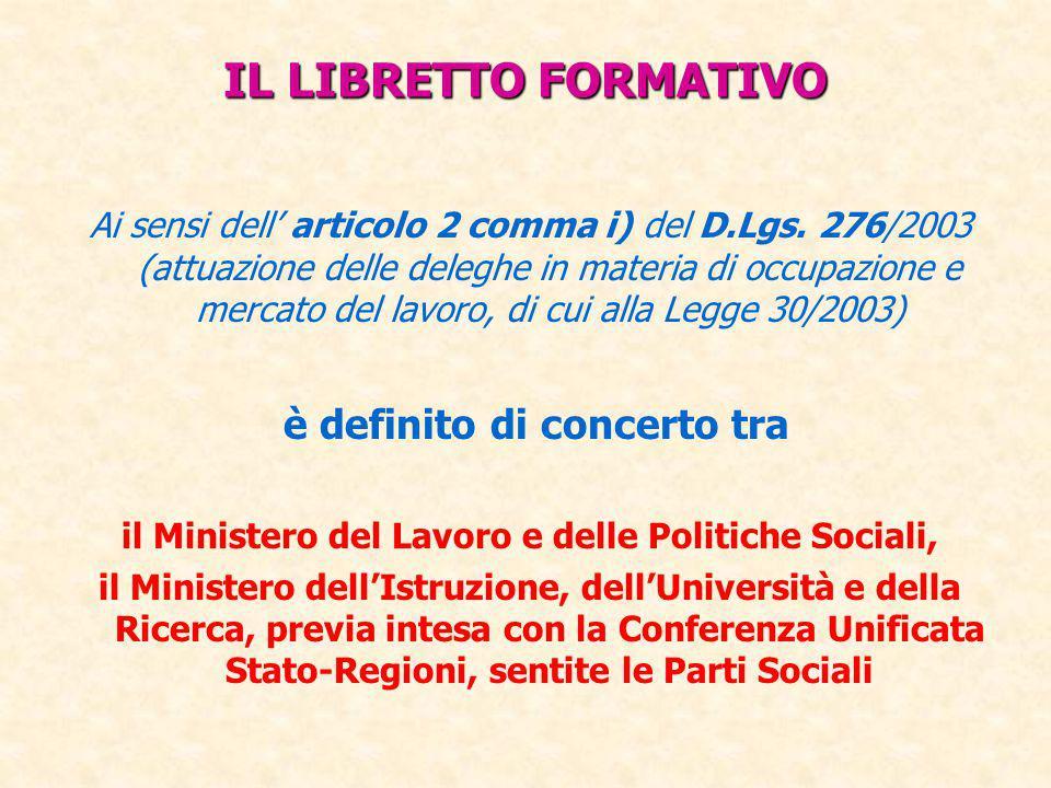 IL LIBRETTO FORMATIVO Ai sensi dell' articolo 2 comma i) del D.Lgs. 276/2003 (attuazione delle deleghe in materia di occupazione e mercato del lavoro,