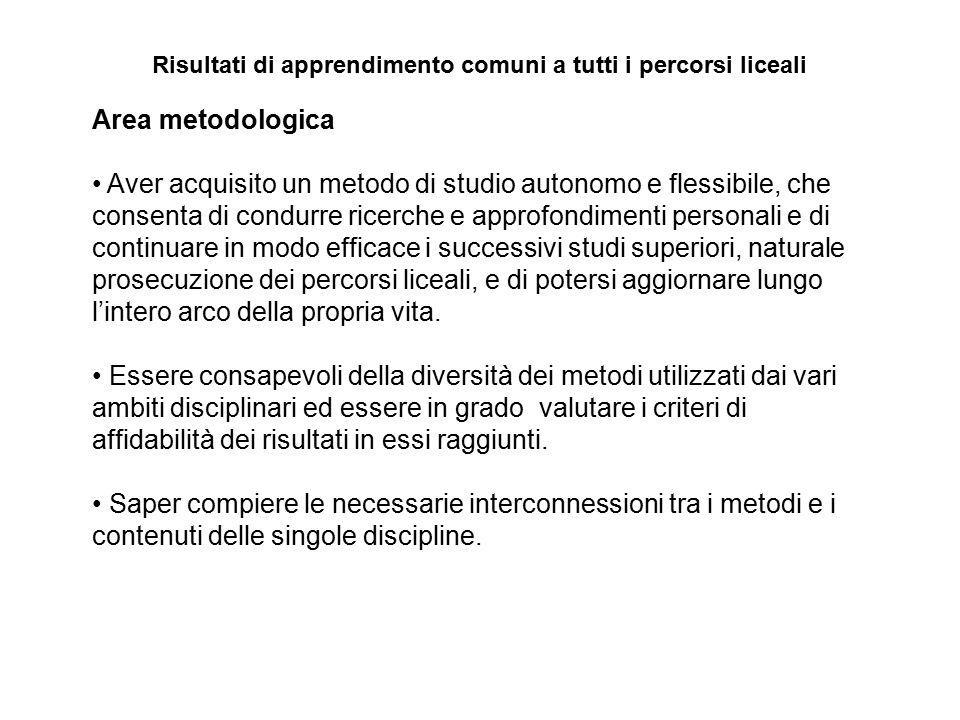 Risultati di apprendimento comuni a tutti i percorsi liceali Area metodologica Aver acquisito un metodo di studio autonomo e flessibile, che consenta