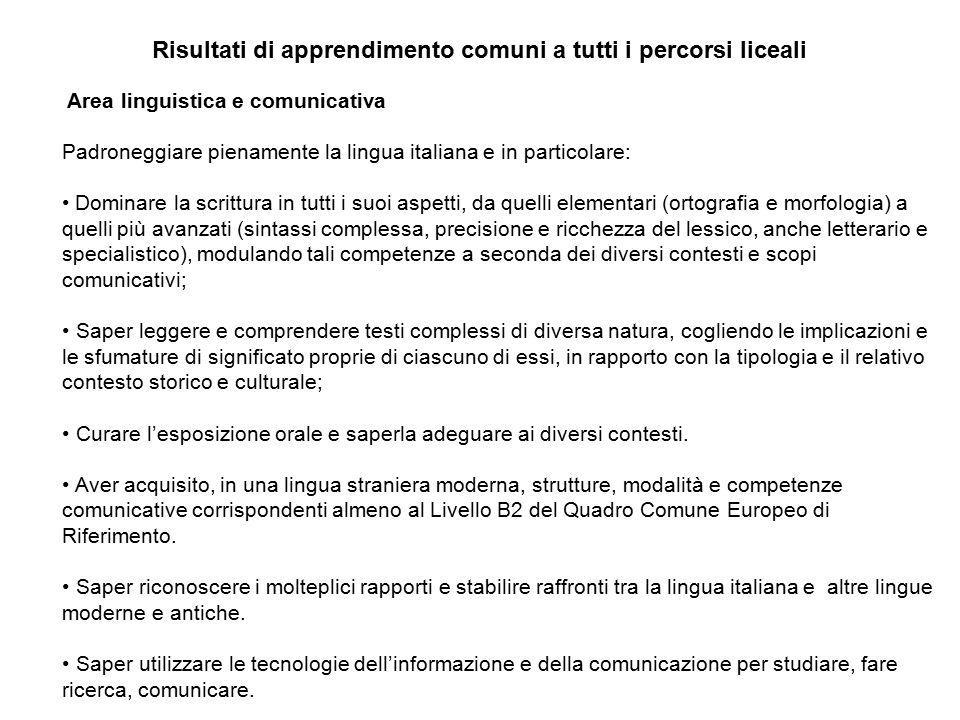 Risultati di apprendimento comuni a tutti i percorsi liceali Area linguistica e comunicativa Padroneggiare pienamente la lingua italiana e in particol