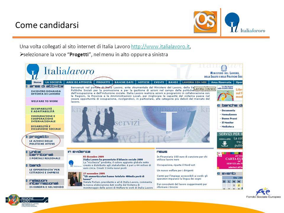 """Una volta collegati al sito internet di Italia Lavoro http://www.italialavoro.it,http://www.italialavoro.it  selezionare la voce """"Progetti"""", nel menu"""