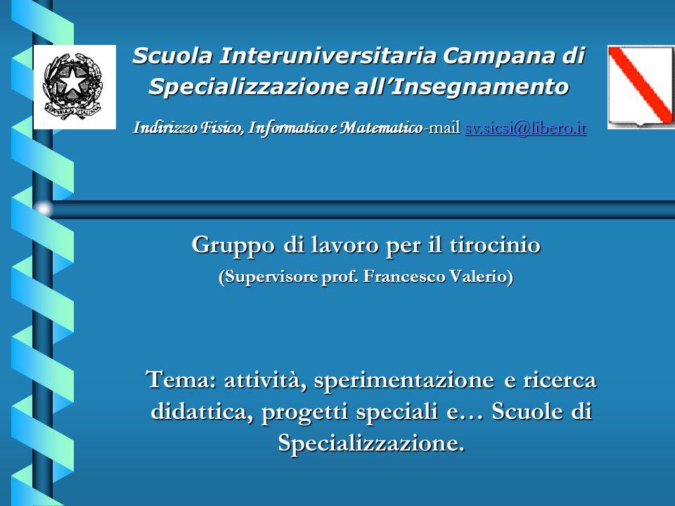 Tema: attività, sperimentazione e ricerca didattica, progetti speciali e… Scuole di Specializzazione. Gruppo di lavoro per il tirocinio (Supervisore p