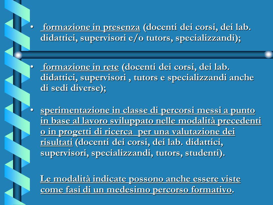 formazione in presenza (docenti dei corsi, dei lab. didattici, supervisori e/o tutors, specializzandi); formazione in presenza (docenti dei corsi, dei