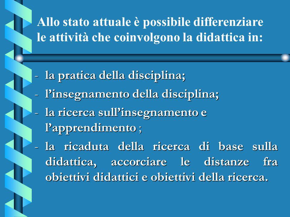 -la pratica della disciplina; -l'insegnamento della disciplina; -la ricerca sull'insegnamento e l'apprendimento ; -la ricaduta della ricerca di base s