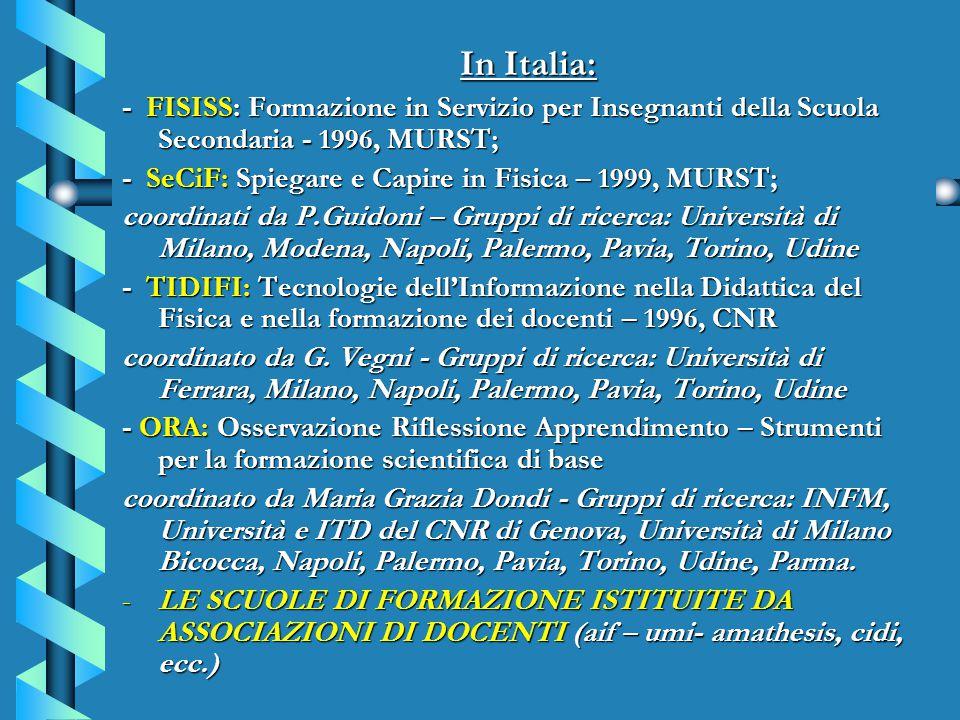 In Italia: In Italia: - FISISS: Formazione in Servizio per Insegnanti della Scuola Secondaria - 1996, MURST; - SeCiF: Spiegare e Capire in Fisica – 1999, MURST; coordinati da P.Guidoni – Gruppi di ricerca: Università di Milano, Modena, Napoli, Palermo, Pavia, Torino, Udine - TIDIFI: Tecnologie dell'Informazione nella Didattica del Fisica e nella formazione dei docenti – 1996, CNR coordinato da G.