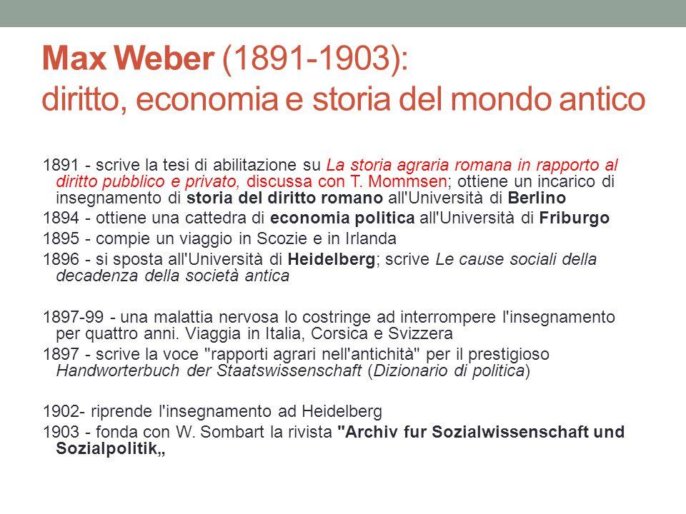 Max Weber (1891-1903): diritto, economia e storia del mondo antico 1891 - scrive la tesi di abilitazione su La storia agraria romana in rapporto al diritto pubblico e privato, discussa con T.