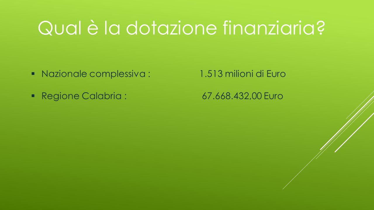 Qual è la dotazione finanziaria?  Nazionale complessiva : 1.513 milioni di Euro  Regione Calabria : 67.668.432,00 Euro