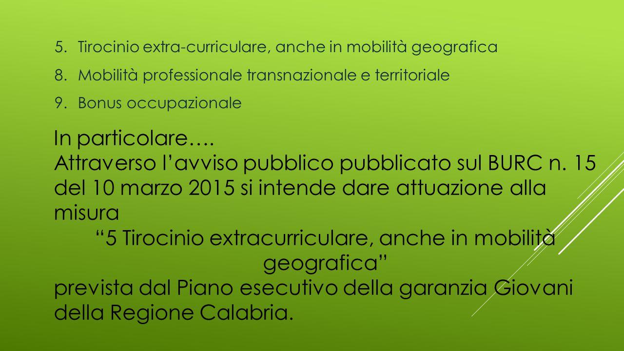 5.Tirocinio extra-curriculare, anche in mobilità geografica 8.Mobilità professionale transnazionale e territoriale 9.Bonus occupazionale In particolar