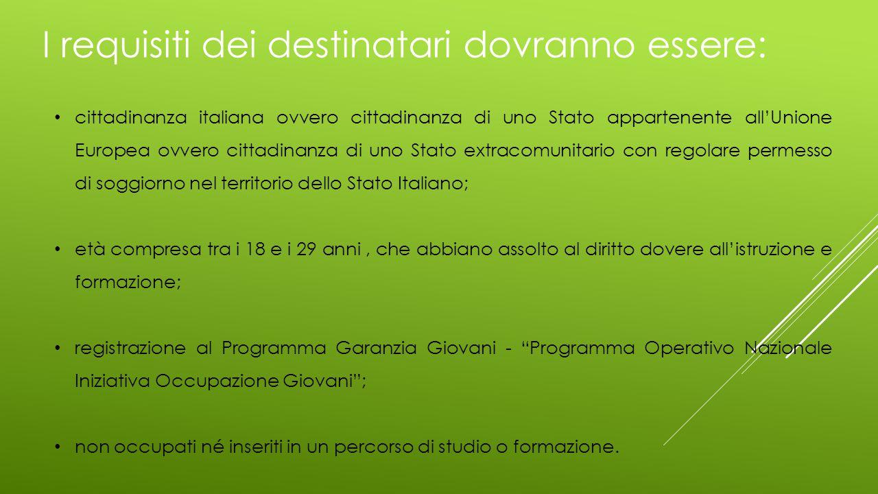 I requisiti dei destinatari dovranno essere: cittadinanza italiana ovvero cittadinanza di uno Stato appartenente all'Unione Europea ovvero cittadinanz