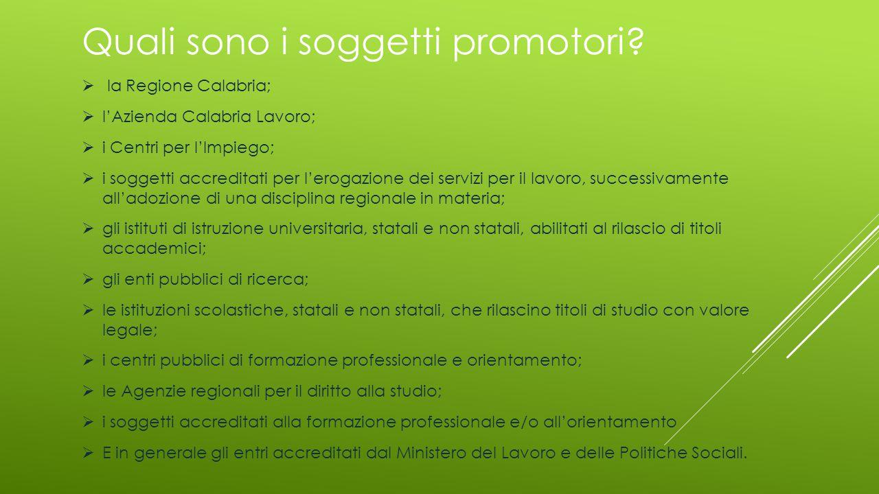 Quali sono i soggetti promotori?  la Regione Calabria;  l'Azienda Calabria Lavoro;  i Centri per l'Impiego;  i soggetti accreditati per l'erogazio